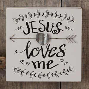 COPY - Farmhouse Jesus Loves Me Wall Plaque